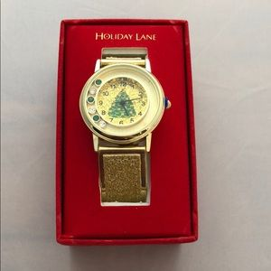 Holiday lane gold color watch